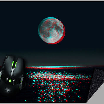 3D Glitch Moon Mousepad