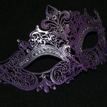 Purple Masquerade Mask with Glitter Accents