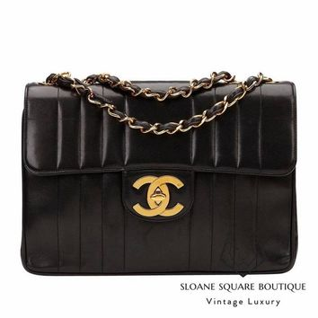 CHANEL BLACK BAG VERTICAL LEATHER XL JUMBO CLASSIC SINGE FLAP GOLD HARDWARE GHW