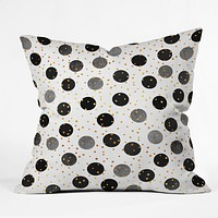 Elisabeth Fredriksson Black Dots and Confetti Throw Pillow