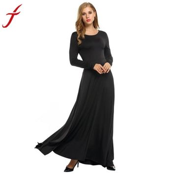 2017 Fashion Women Sexy Solid Black Long Sleeve Evening Party Ball Prom Gown Formal Long Dress