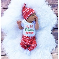 2016 Christmas Newborn Baby Girl Boy Snowflake Romper Pants Leggings Hat 3pcs Outfits Infant Bebek Clothing Set 0-18M