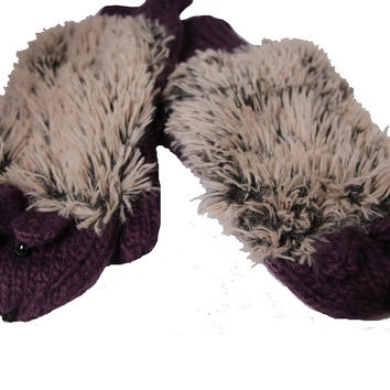Purple Hedgehog Mittens