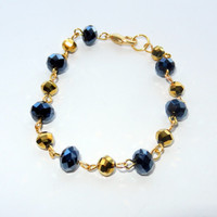 Gold and Navy Linked Bracelet, Phi Sigma Sigma