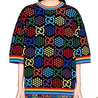 Gucci Psychedelic Rainbow Double G Jumping Candy Jacquard Round Neck Short Sleeve Sweater
