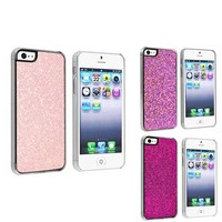 eForCity 3 packs of Snap-on Hard plastic Cases : Light Pink Bling / Purple Bling / Hot Pink Bling Compatible with Apple iPhone 5