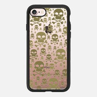 Glitter Gold Skulls Transparent iPhone 7 Case by Alice Gosling | Casetify