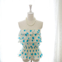 Summer Beach Vivid Sky Blue Polka Dots Beige Peplum Tube Top Blouse pastel candy