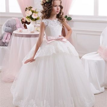 Abaowedding pretty lace flowergirl kids puffy dresses prom long glitz girls pageant tulle ball gowns little bride dresses 2017