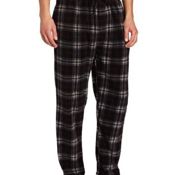 Intimo Men's Micro Fleece Printed Pajama Pant, Black, Large