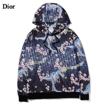 Dior New fashion more letter floral print hooded long sleeve sweater top