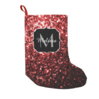 Beautiful Glamour Red Glitter sparkles Monogram Small Christmas Stocking