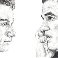 Pen drawing of Kurt and Blaine from the tv series 'Glee'.