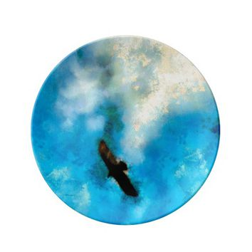 Decorative Porcelain Plate Soaring Falcon