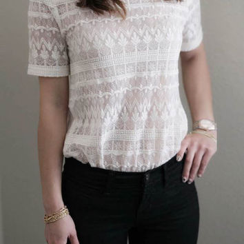 Sheer Lace Top with Pearls