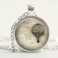Pendant with Chain - Hot air balloon on a map