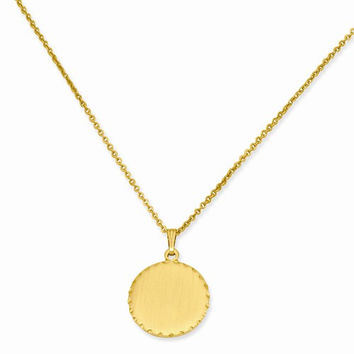 Gold Plated Sat Round Engraveable Disc Necklace