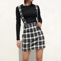 Korean Checkerboard Suspender High Waist Skirt