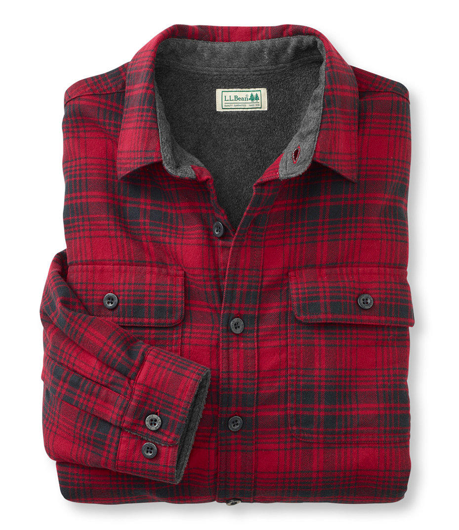 Fleece lined flannel shirt traditional from l l bean inc for Fleece lined flannel shirt