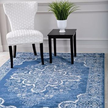 5259 Blue Medallion Distressed Oriental Area Rugs
