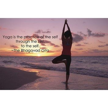 TREE POSE YOGA POSTER inspirational QUOTE MOTIVATIONAL sunset ocean 24X36