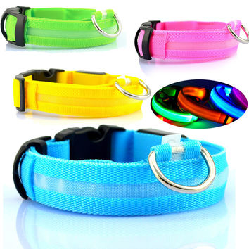 Led Dog Collar Nylon Luminous Collar Glowing Necklace for Pet Cat Dog Light Night Safety Light-up Flashing in Dark Dogs Supplies