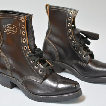 NOS Deadstock Daoust Ruf-Rider - Vintage 50s 60s Black Leather Square Toe Moto Work Boots