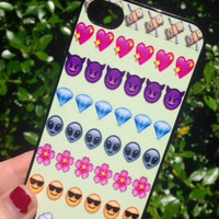 Iphone 5 5S Phone Case Emoji Icons Face Print Hipster Phone Cover