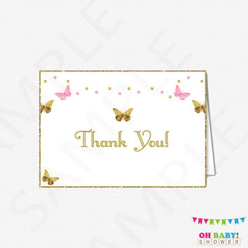Printable Thank You Card, Pink and Gold Baby Shower Thank Cards, Bridal Shower Thank You Card, Printable Thank Yous, Instant Download, BTFPG