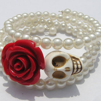 Day of the Dead Wedding Bracelet Vintage Faux pearls Wrap around