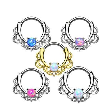 ac PEAPO2Q 1 piece New Fashion 2017 Lacey Opal Gem Septum Ring Rook Clicker Nose Ring Titanium Shaft 16G Hanger Body Piercing Jewelry