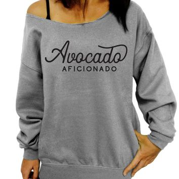 Avocado Aficionado, Vegan, Womens Clothing, Slouchy Sweatshirt, Oversized, Off the Shoulder, Sweater, Gift for her, Womens sweatshirt, Cute