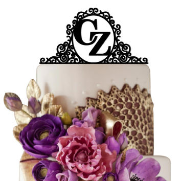Personalized Wedding Cake Topper Initials in Mirror