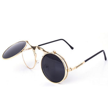 Retro Steampunk Googles Vintage Round Flip Up Sunglass Women Mens Circle Clip On Sunglasses Metal Punk Sun Glasses Oculos