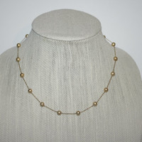 """Vintage Faux Gold Pearl Beaded Necklace 18"""" FREE US SHIPPING"""
