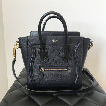 Celine Nano Navy/Black Luggage in Drummed Calfskin