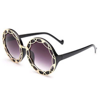 Black Cut Out Rounded Frame Sunglasses