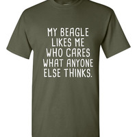 My Beagle Loves Me Who care what Anyone Else Thinks Tee Great Beagle Dog Lovers Dog Rescue T-Shirt Kids & Adult Sizes Both