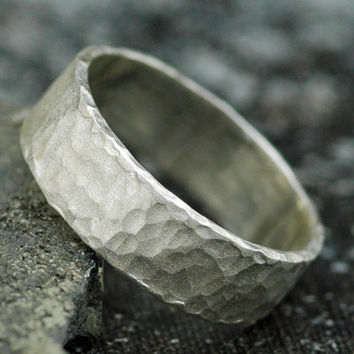 Frosted Hammered Textured Sterling Silver Band by Specimental