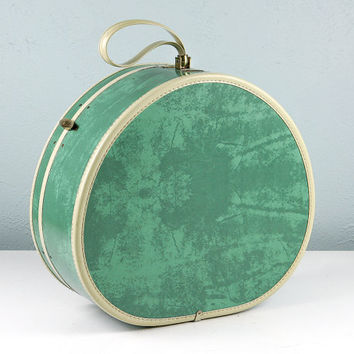 Vintage Samsonite Round Hat Box Suitcase, Hat Box Luggage, Green Suitcase, Round Suitcase, Samsonite Luggage, Round Luggage, Marbled Green