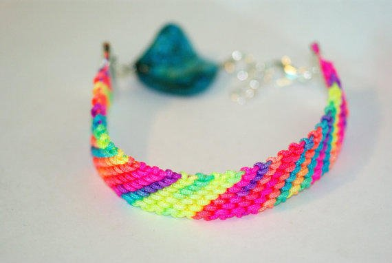 Neon Multi-Colored Friendship Bracelet with Teal Bead and Clasp Closure, Summery Bracelets