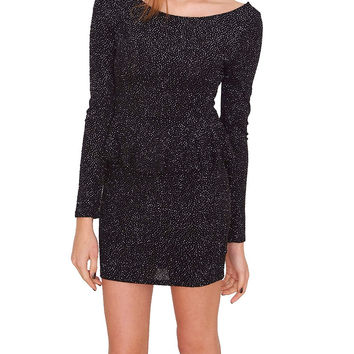 Holiday Sparkle Peplum Dress - Black/Silver