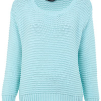 Aqua Crop Garter Stitch Jumper - Knitwear - Clothing - Miss Selfridge