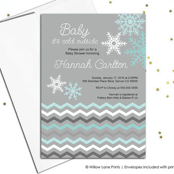 Winter baby shower Invitation gender neutral, baby it's cold outside, christmas baby shower, printable baby shower invite, snowflake (752)