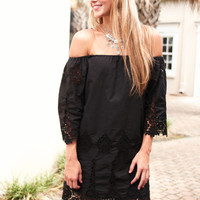 In the Detail Black Quarter Sleeve Off-shoulder Dress