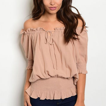 Women Fashion Boho Peasant Cold Off Shoulder Top Blouse Shirt Taupe Casual Cute