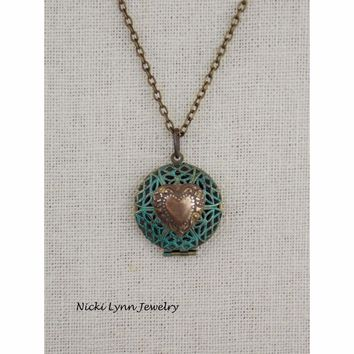 Patina Blue Filigree Heart Locket Necklace