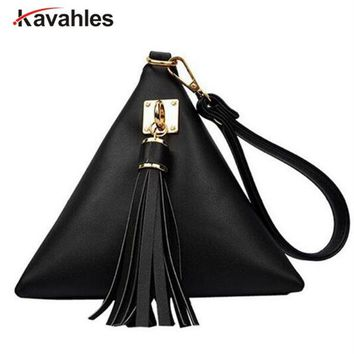 2018 New European Trendy Small Purse Fringe Bag Ladies Wallet Triangle Women's Clutches Casual Leather Handbags PP-537