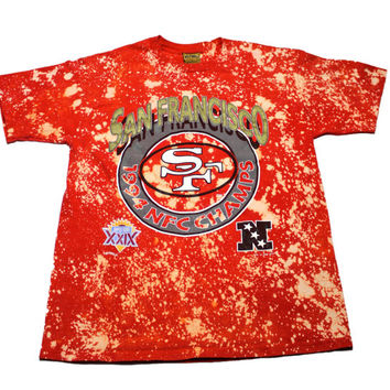 Vintage 1990s 90s 1994 San Francisco Forty Niners 49ers NFC Champs Red Bleached Shirt Made in USA Mens Sportswear Size Large