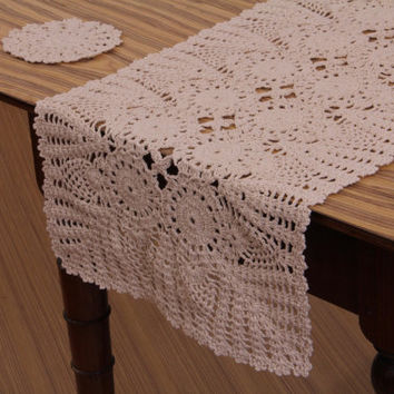 HANDMADE CROCHET RUNNER- 100% Cotton - Crochet Table Decor, Table Runner for Home Decor, Wedding, , Bridal & Gifts, White and Natural color